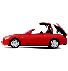 Red car cabriolet on the road vector
