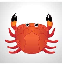 Red colored crab with patch of reflected light vector