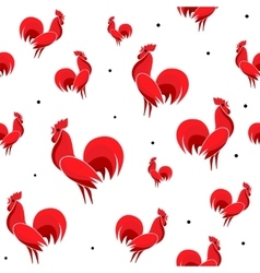 Red Roosters seamless vector
