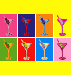 Set colored martini cocktails with olives vector