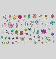 set cute hand drawn colorful flowers stickers vector image
