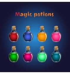 set if magic potions collections elixirs vector image