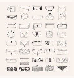 Set of hand drawn clutches and purses vector