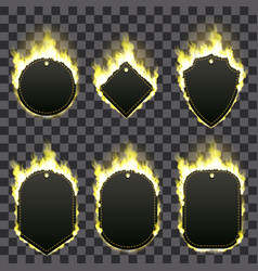 Set of six frames surrounded with yellow flame vector