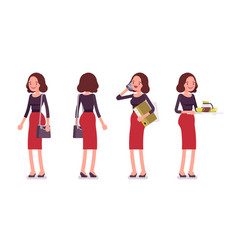 set of young secretary in standing pose rear vector image