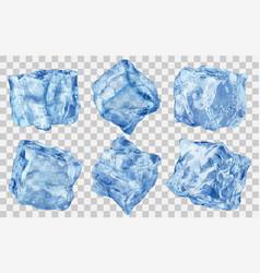 set transparent ice cubes vector image