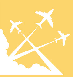 silhouettes planes in sky vector image