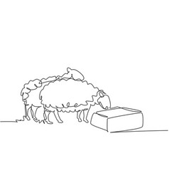 Single one line drawing sheep are being vector
