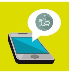 smartphone and hand isolated icon design vector image