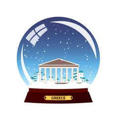 Snow globe city greece acropolis in snow globe vector