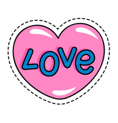 Sticker or patch in shape heart isolated icon vector