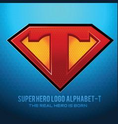 Superhero logo icon with letter t vec vector