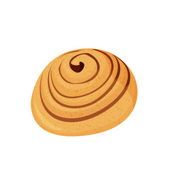 Tasty cinnamon bun isolated vector