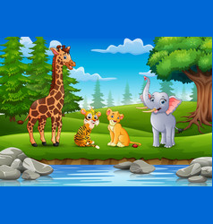 The animals are enjoying nature by the river vector