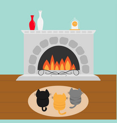 three kittens on carpet rug looking to fireplace vector image