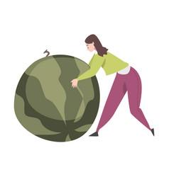 Tiny female pushing huge juicy watermelon vector