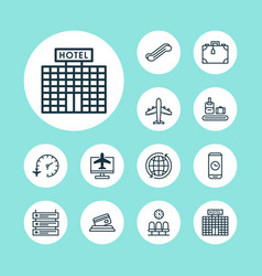 Travel icons set collection of call duration vector