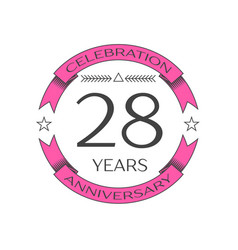 Twenty eight years anniversary celebration logo vector