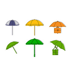 umbrella icon set color outline style vector image