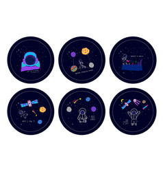 Universe space nature star cutout scircle sticker vector