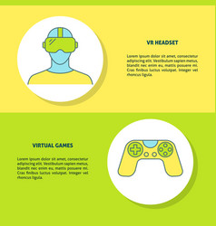 virtual reality games concept banners in line vector image
