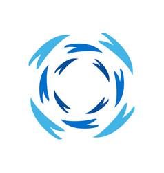 water wave swoosh spiral wheel circle symbol vector image