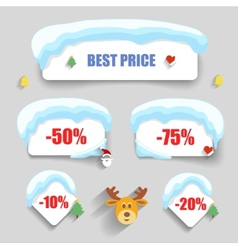Winter design Christmas sale stickers discounts vector