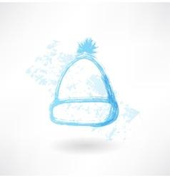 Winter hat grunge icon vector image