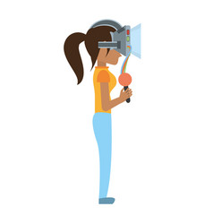 Woman wear virtual reality glasses and control vector