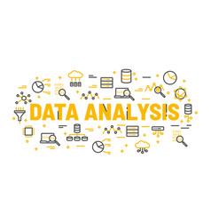 words data analysis surrounded by icons vector image
