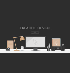 Workplace of the designer and vector