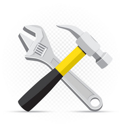 Wrench and hammer repair icon vector