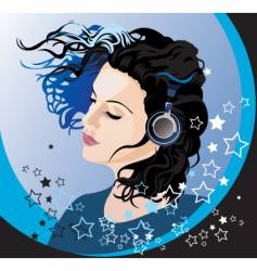 beautiful girl listening to music vector image