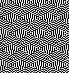 Black and white striped big and small hexagons vector image