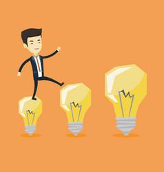 business man jumping on light bulbs vector image