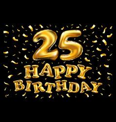 golden number 25 twenty five metallic balloon vector image vector image