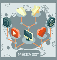 media isometric concept icons vector image