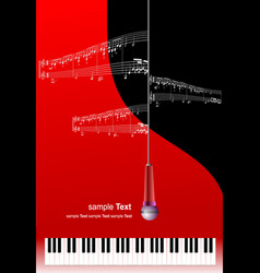piano with microphone and printing music with vector image vector image