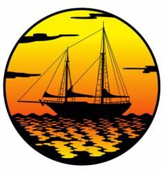 ship at sunset vector image vector image
