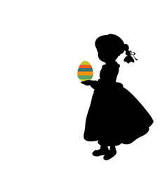 silhouette girl holds easter egg colorful vector image