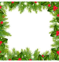 Winter border with christmas tree and holly berry vector