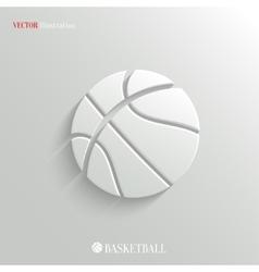 Basketball icon - white app button vector image vector image