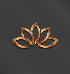 bronze lotus flower logo icon vector image