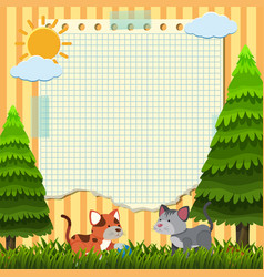 paper template with two cats in the park vector image