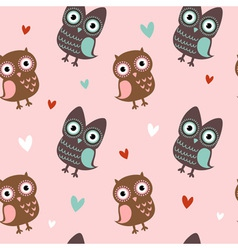 Valentine love seamless texture with cute owls vector image