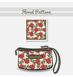 Cosmetic Bag Red Flowers vector image vector image