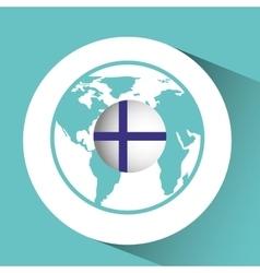 finland flag pin map design vector image vector image