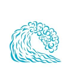 blue wave Logo design Surfing vector image