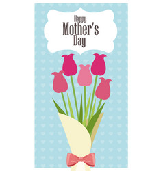 happy mothers day card bouquet flowers - dots vector image vector image