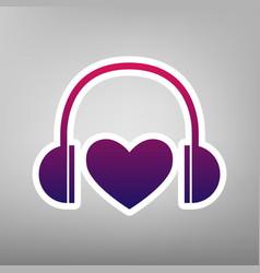 headphones with heart purple gradient vector image vector image